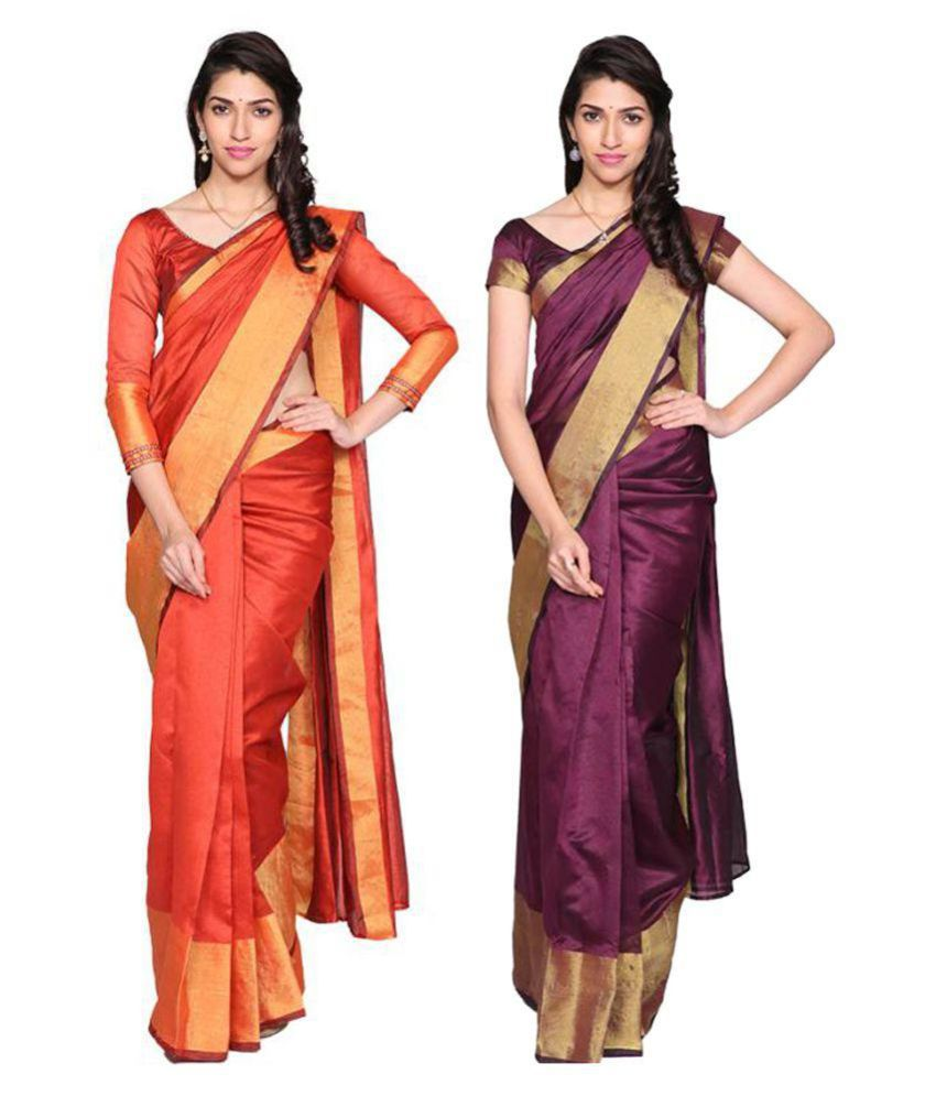 7 Brothers Maroon and Purple Cotton Silk Saree Combos