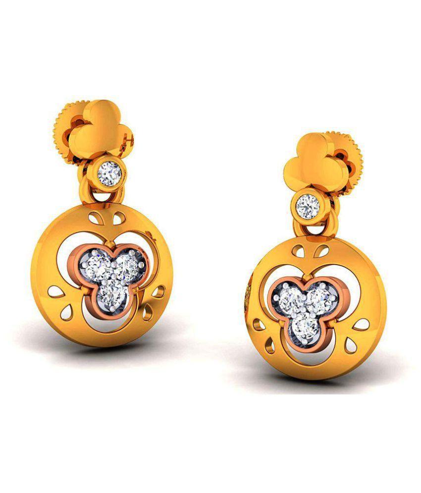 Jewelebration 18k BIS Hallmarked Gold Diamond Hangings