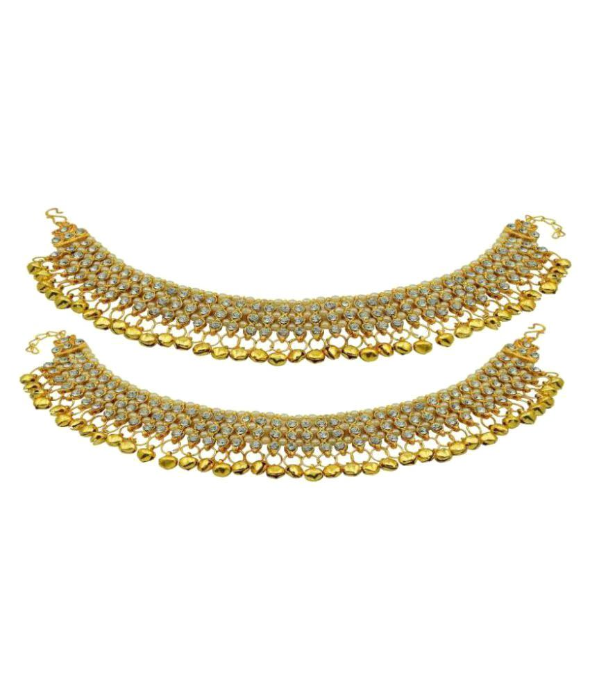 Penny Jewels Golden Alloy Anklets