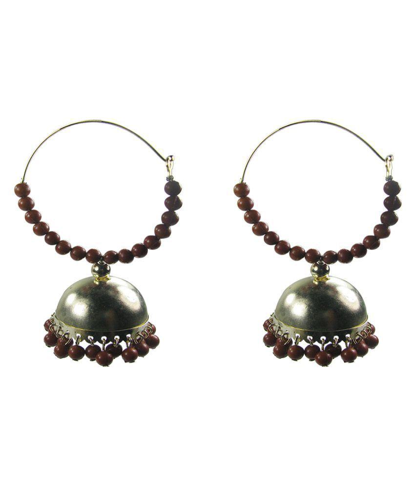 Collana Brown Beads Alloy Jhumki