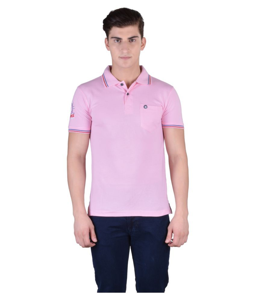 Force Go Wear Light Pink Cotton Polo T-Shirt Single Pack