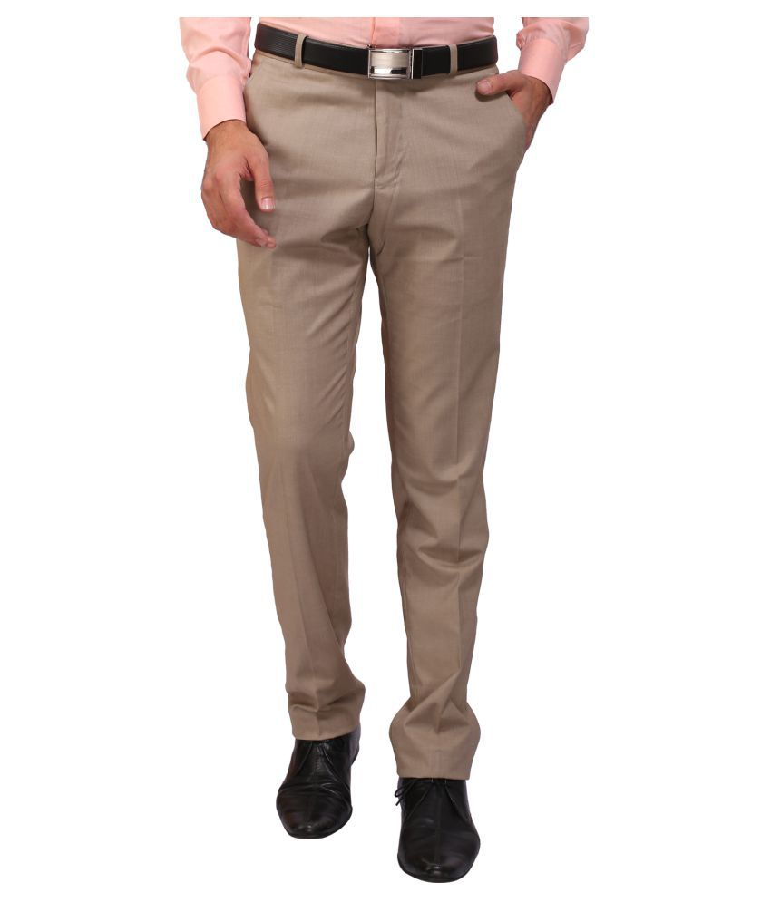 Flags Khaki Regular Flat Trousers