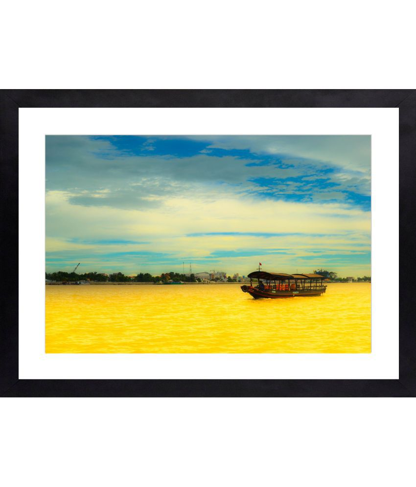 Craftsfest Amazing Photography of Seashore Glass Painting With Frame Single Piece