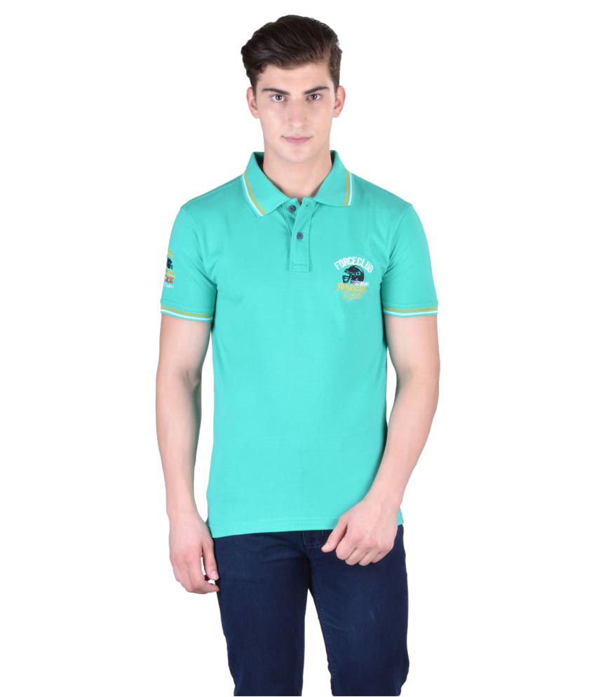 Force Go Wear Light Green Cotton Polo T-Shirt