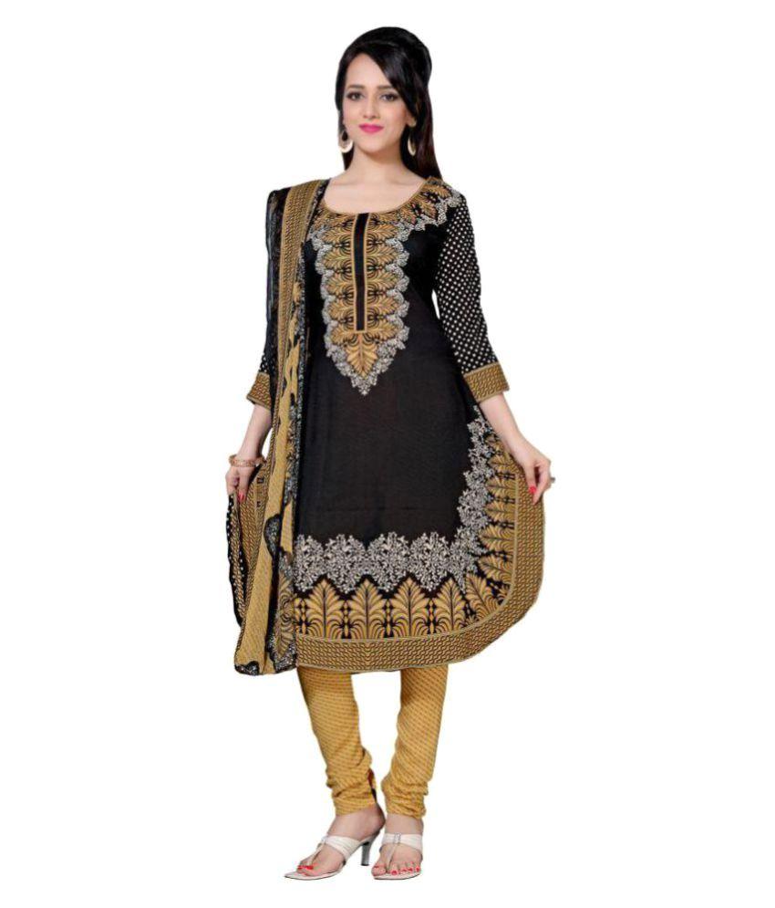Saree Mall Black Crepe Dress Material