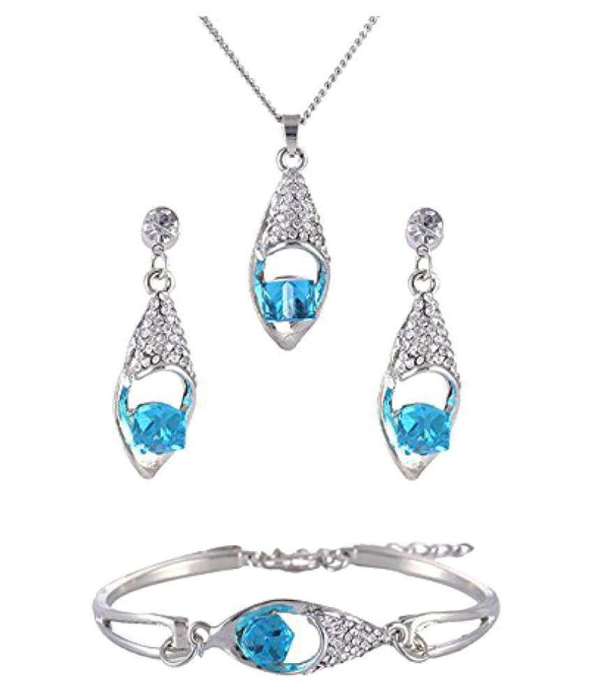YouBella Presents Gracias Collection Crystal Jewellery Combo of Necklace Set / Pendant Set with Earrings and Bracelet for Girls and Women