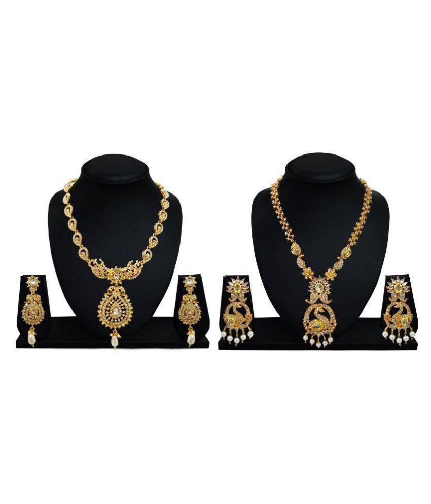 Arts Chetan Gold Zinc Necklace Set Combo - Pack of 2
