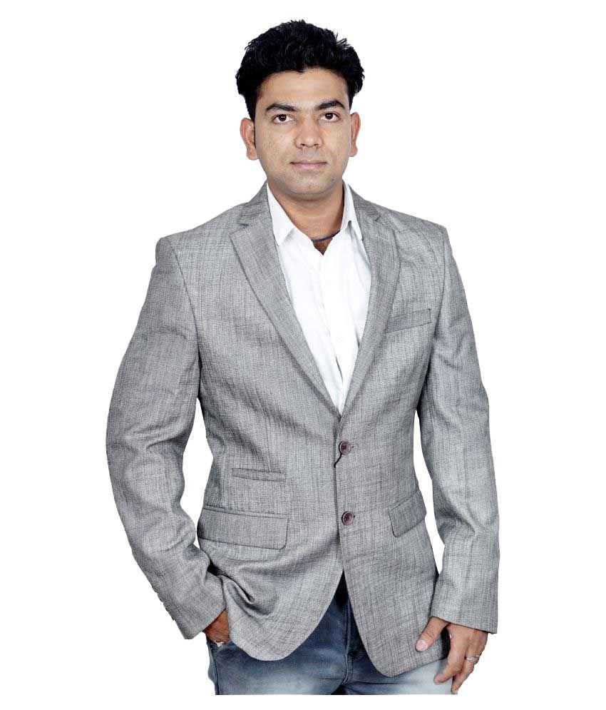 Donear NXG Grey Self Design Formal Blazers
