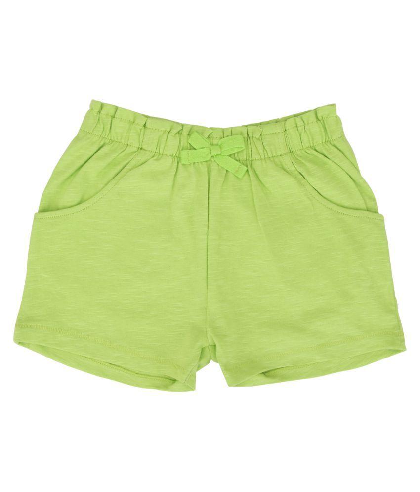 Eimoie Lime Green 100% Cotton Girls Hot Pants