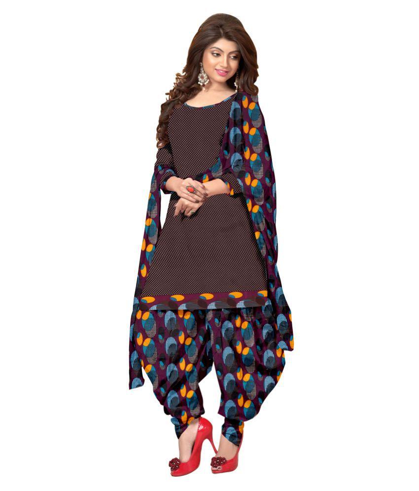Jiya Brown Crepe Dress Material