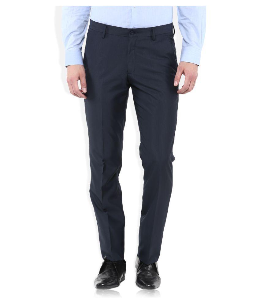 John Miller Blue Slim Flat Trousers