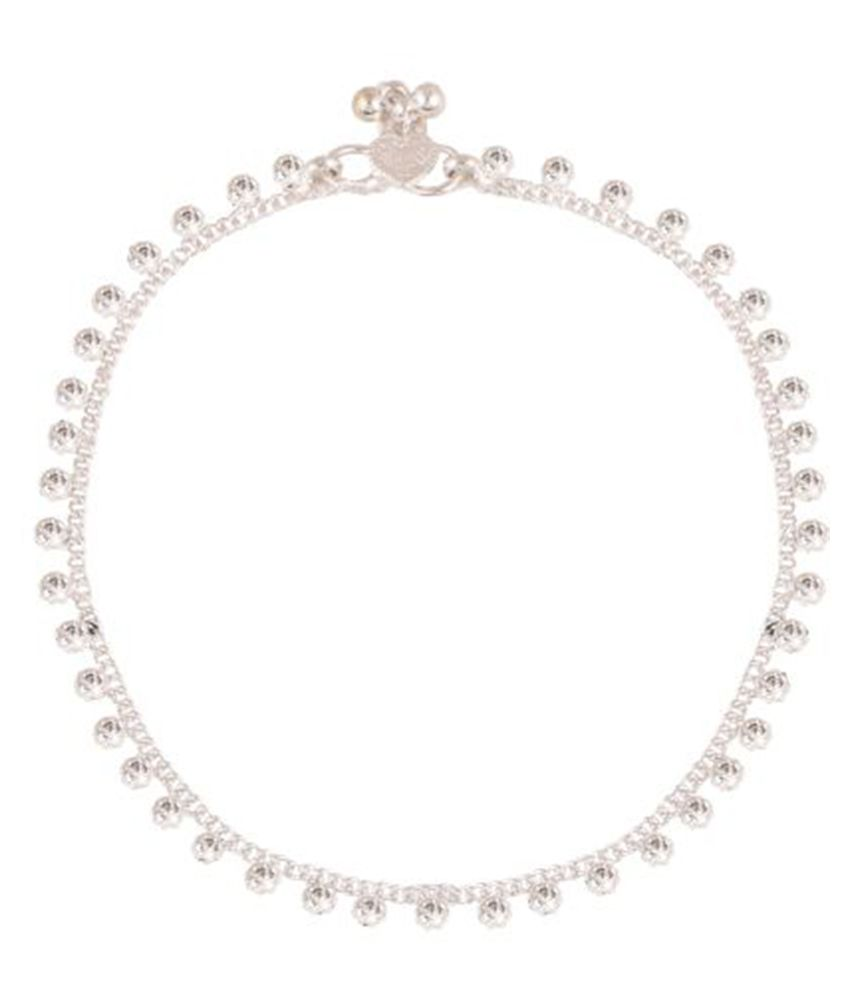 Fine Jewellers Silver Plated Crystal Diamond Anklets