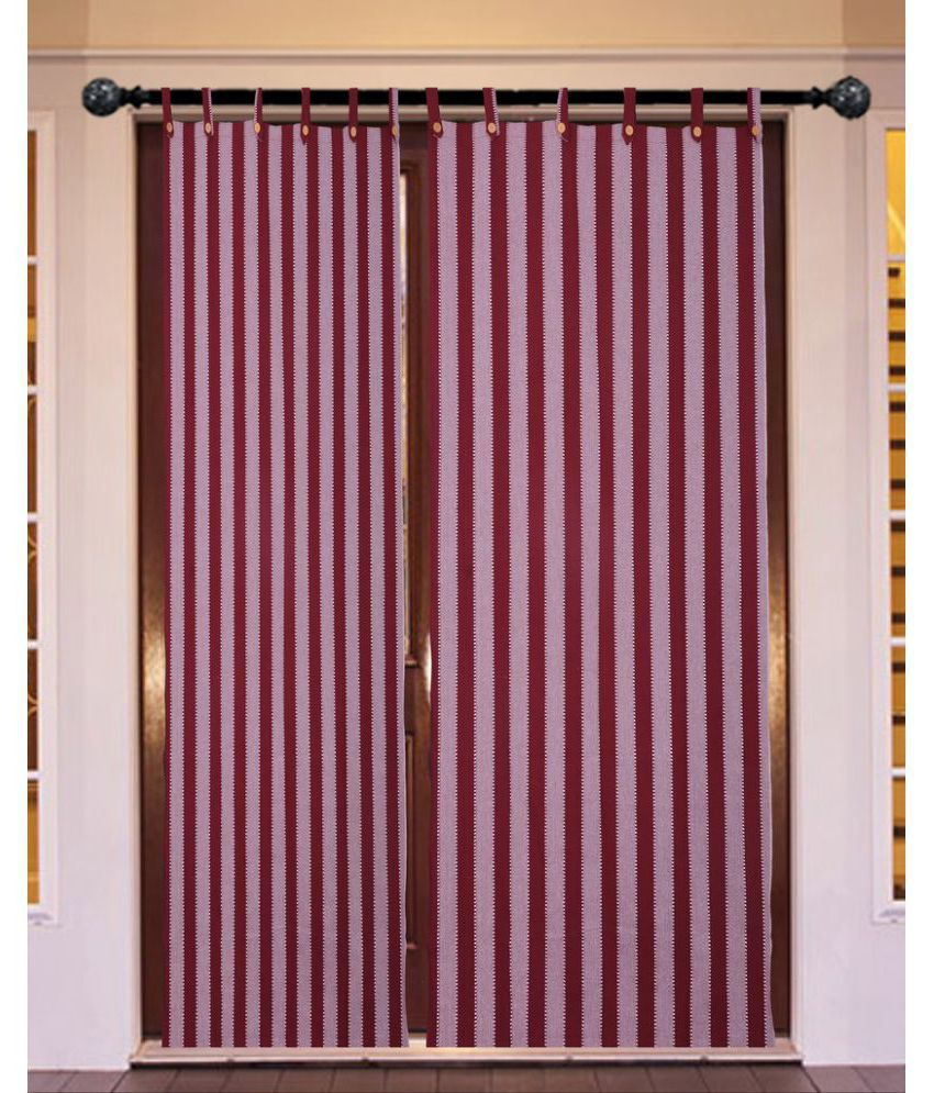 New Ladies Zone Set of 2 Window Loop Curtains Stripes Brown