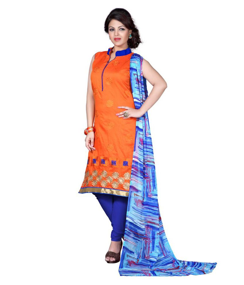 Snowfall Orange Chanderi Dress Material