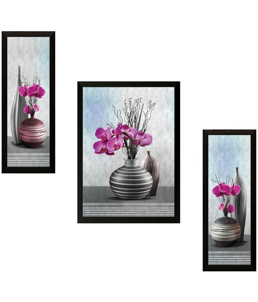 Saf Flowers Wood Painting With Frame Set of 3