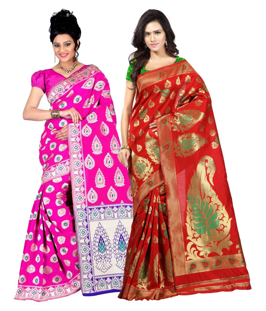 Ganga Shree Multicoloured Cotton Saree Combos