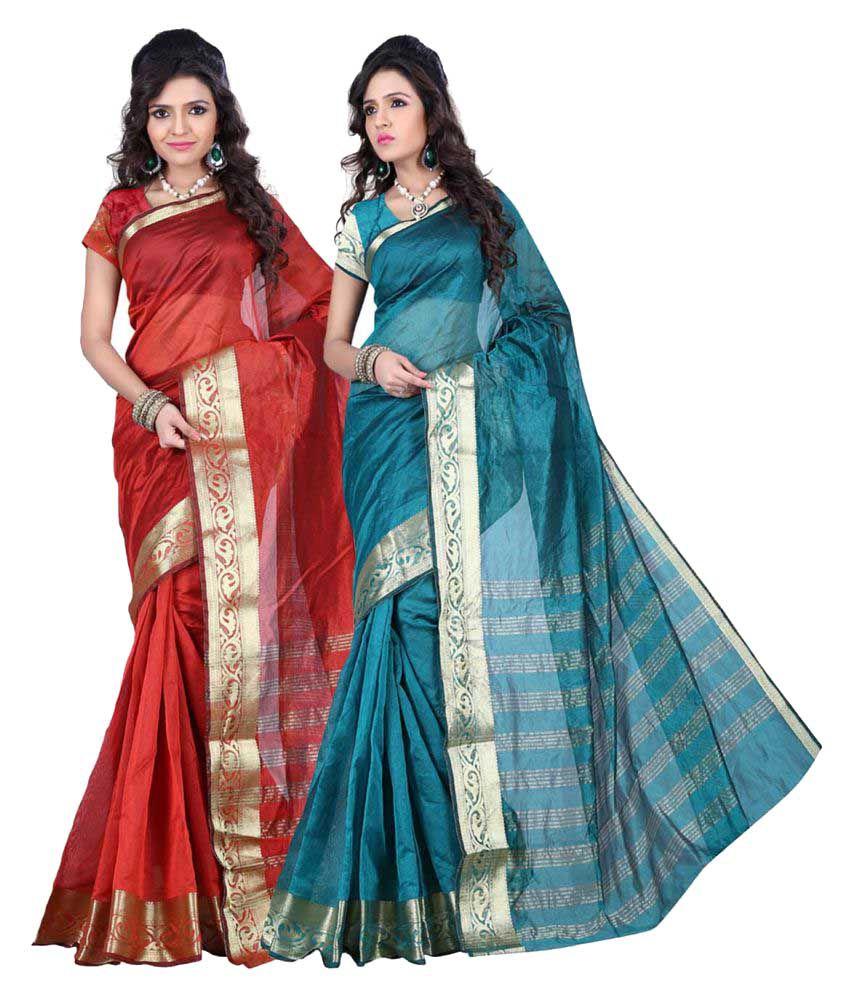 GANGA SHREE Multicoloured Maheshwari silk Saree Combos