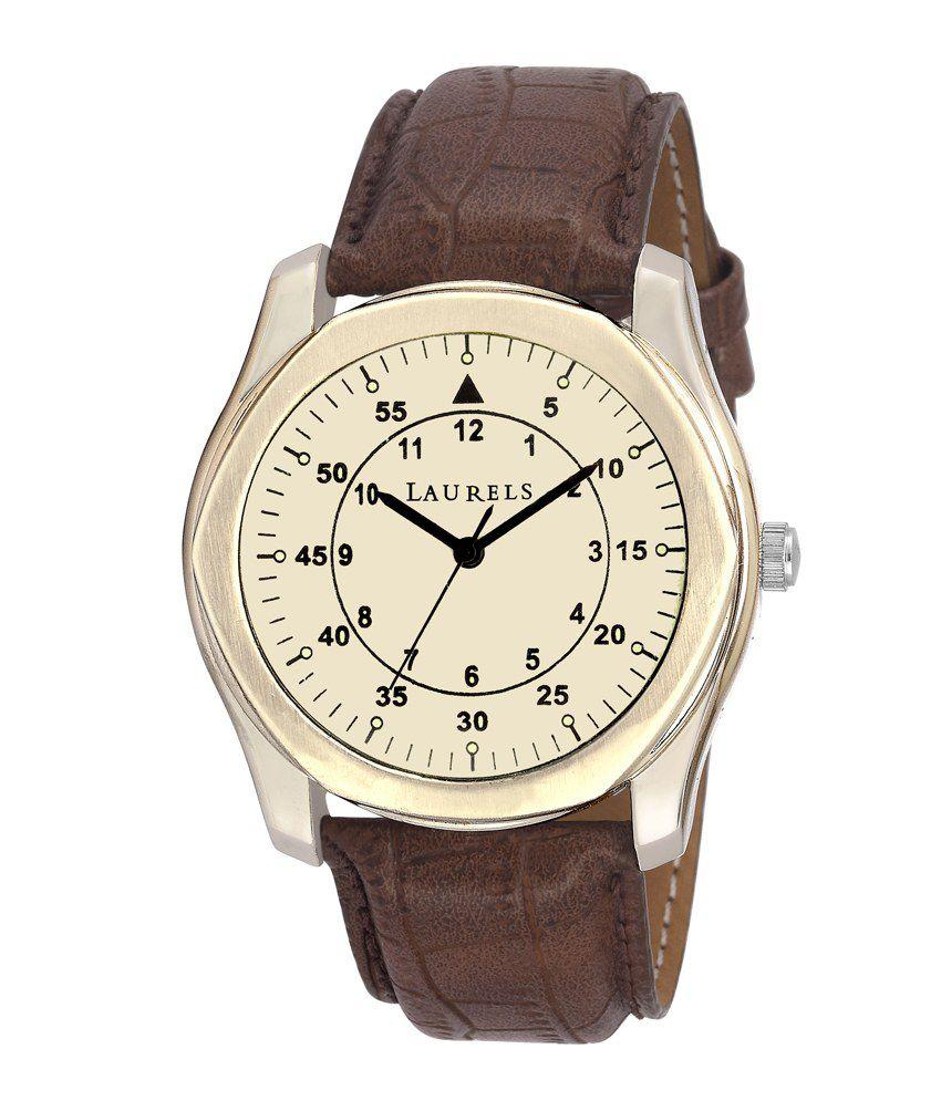 Laurels Lo-Gt-101 Original Brown Leather Analog Watch