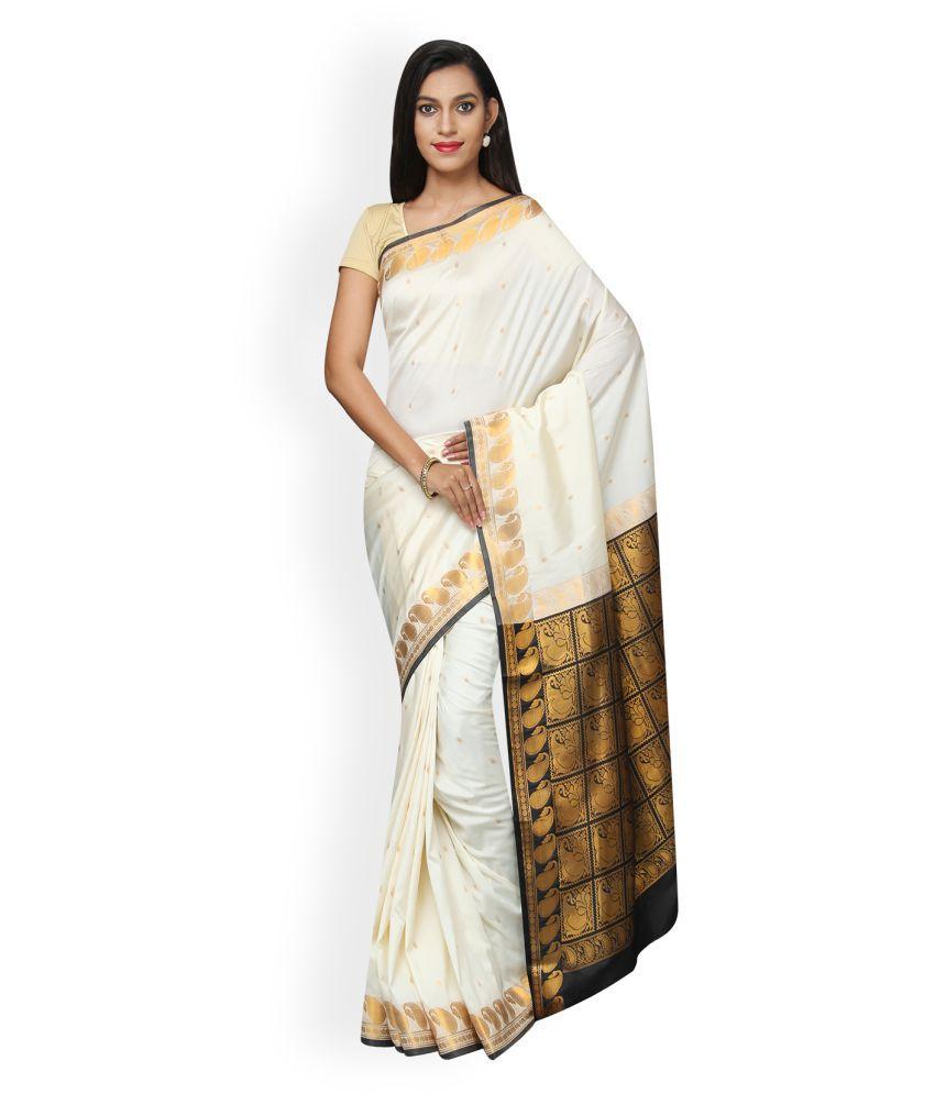 Pavecha's White Cotton Silk Saree
