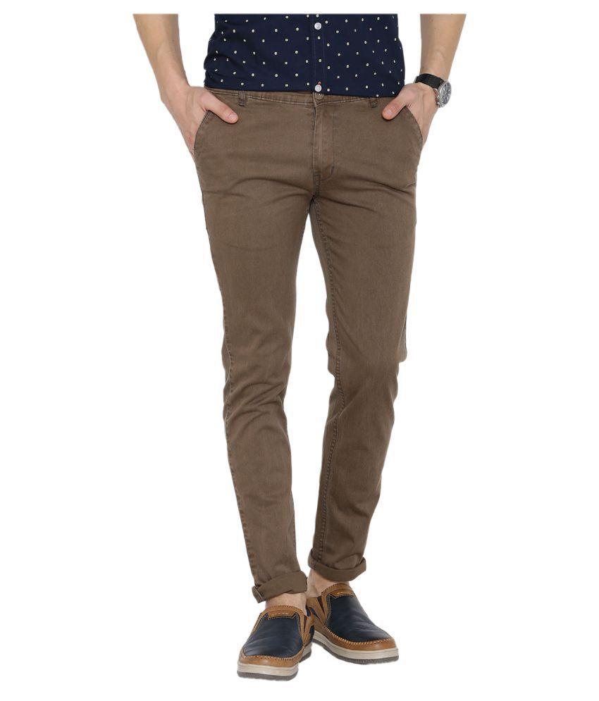 Hubberholme Coffee Slim Flat Trousers