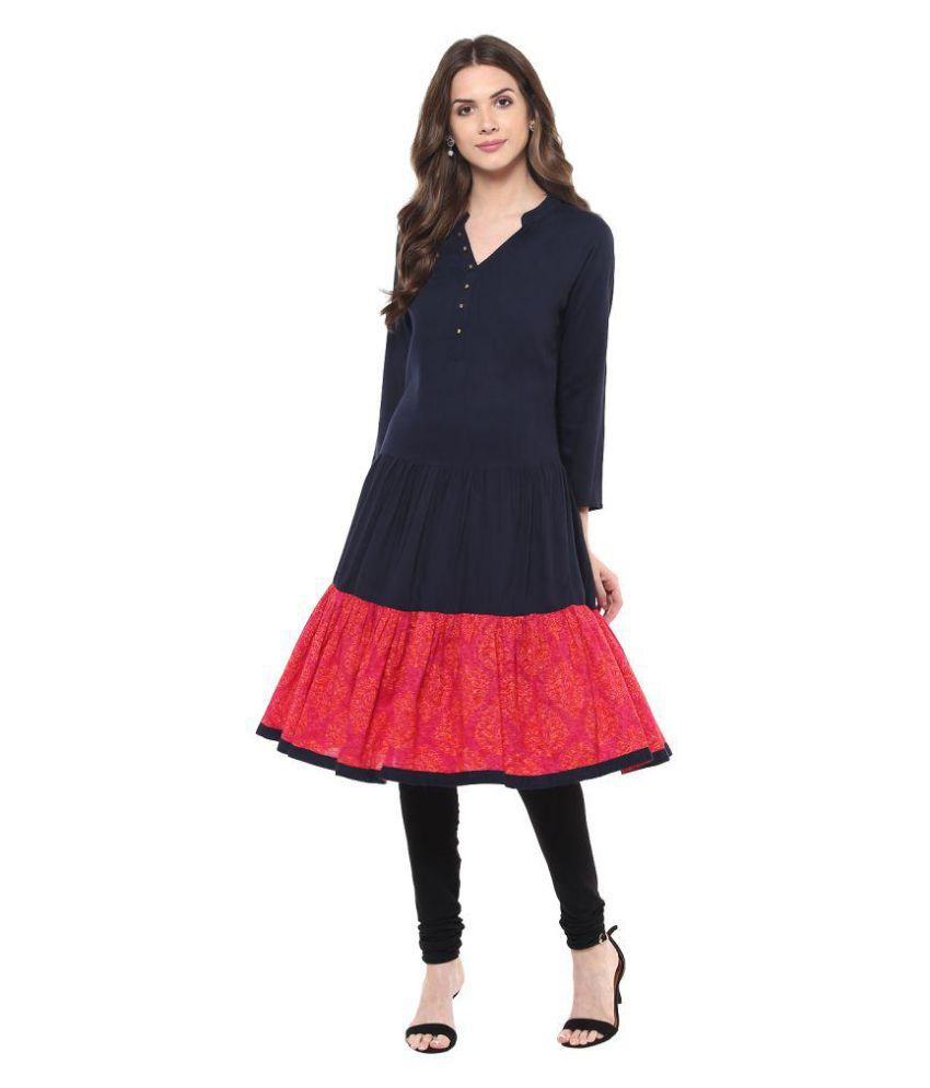 Indian Virasat Navy Rayon Anarkali Kurti