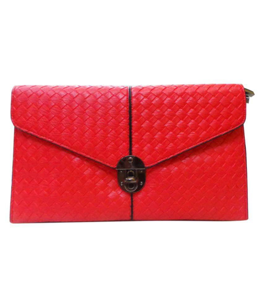 Bhamini Red Fabric Box Clutch