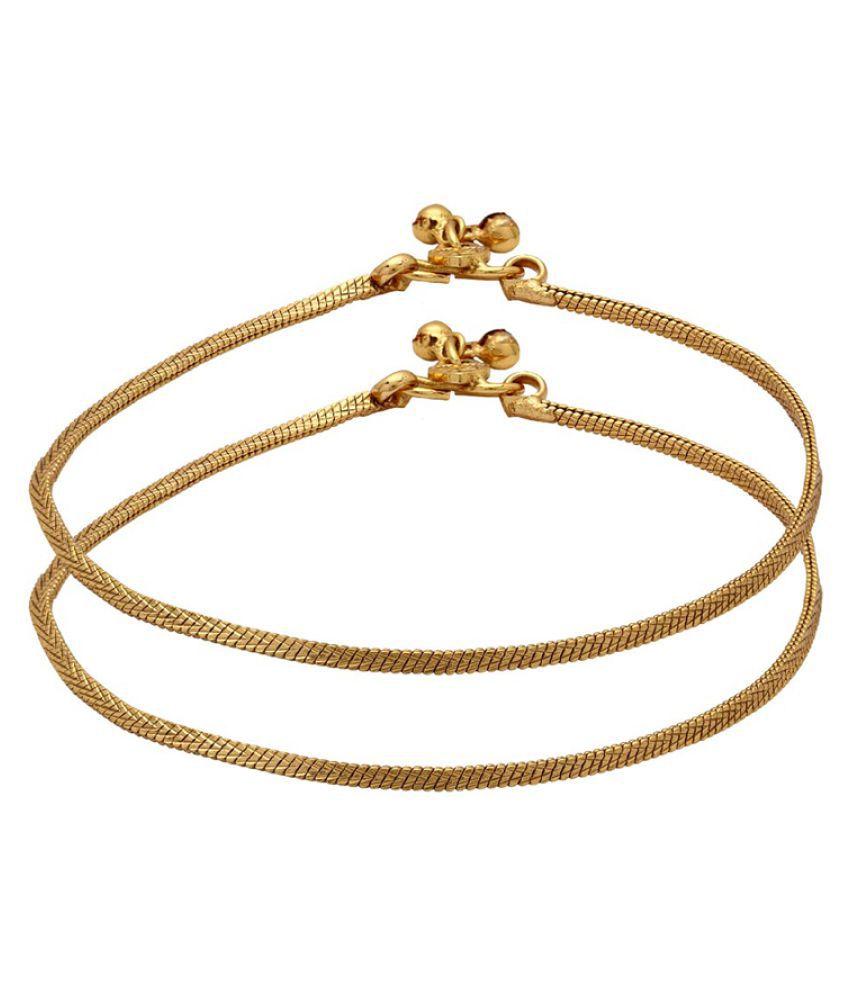 Voylla Plain Design Golden Stylish Anklets