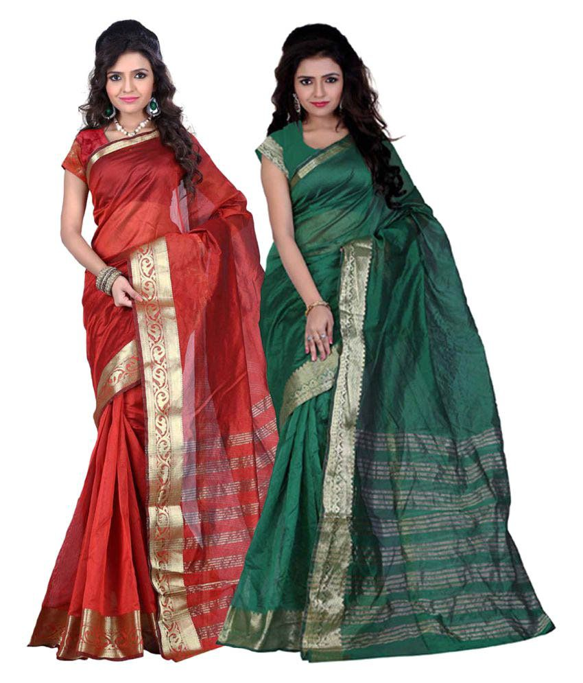 Aksh Fashion Multicoloured Art Silk Saree Combos