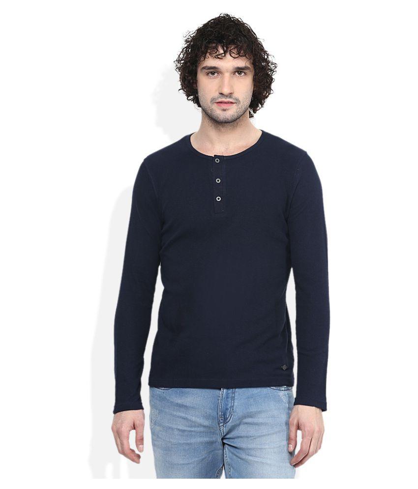 Lee Cooper Navy Henley T-Shirt