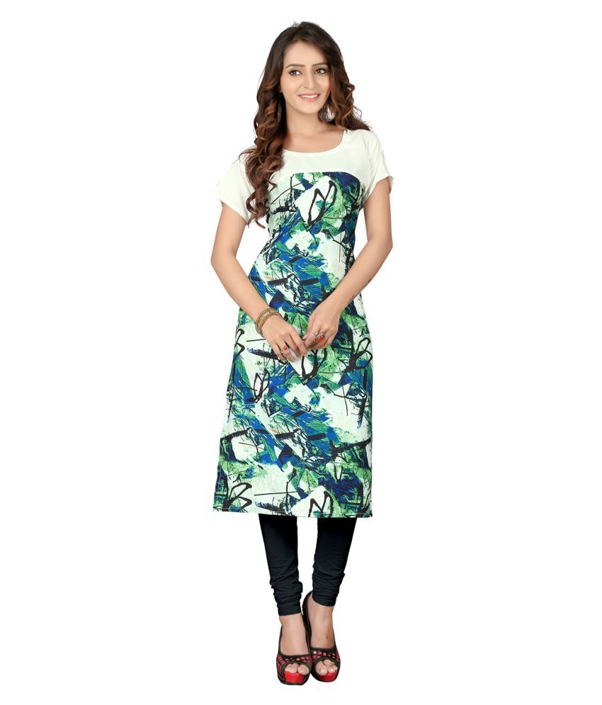 Kuber Enterprise Multicoloured Crepe Straight Kurti