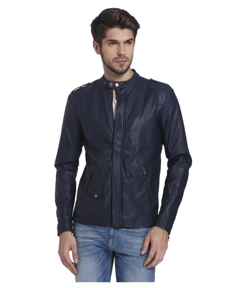 jack jones navy leather jacket available at snapdeal for. Black Bedroom Furniture Sets. Home Design Ideas