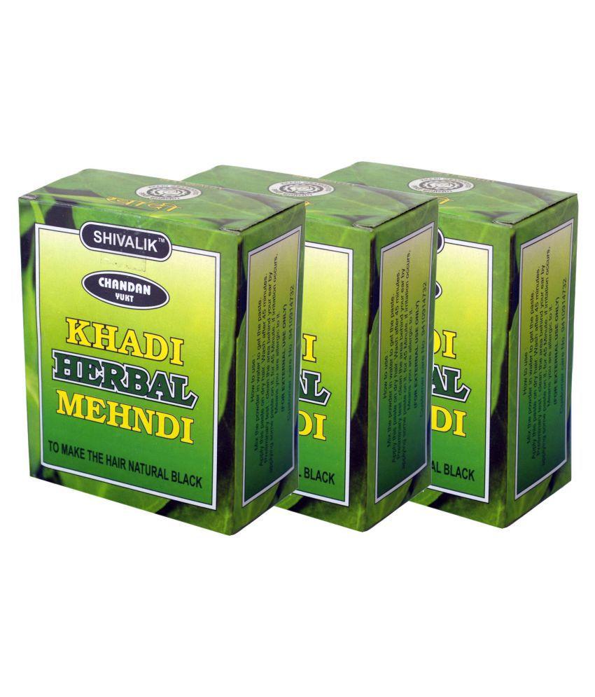 6d1a0b426687e Khadi Chandan Yukt Herbal Mehndi Herbal Henna 3 gm Pack of 3: Buy ...
