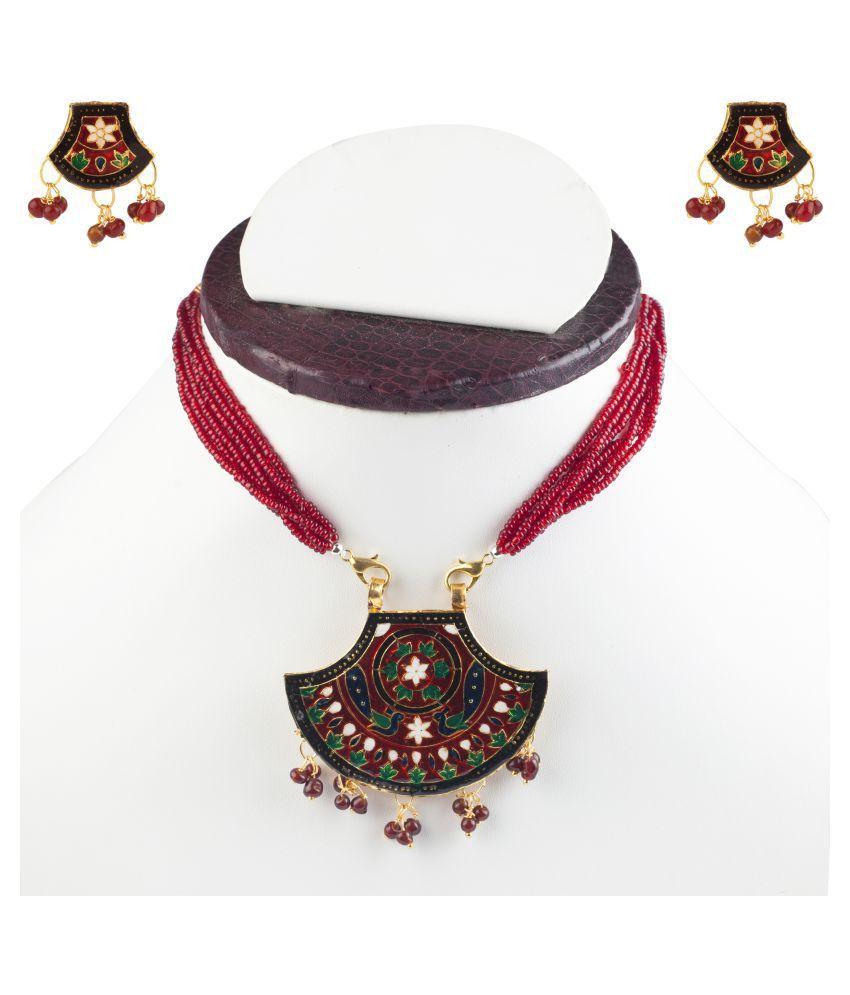 Makezak Multicolour Jaipuri Meenakari Necklace Set