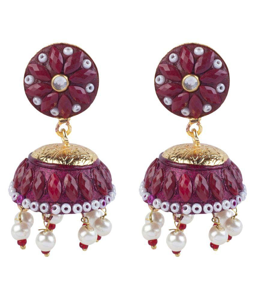 Makezak Hande Made Maroon Jhumki Earrings