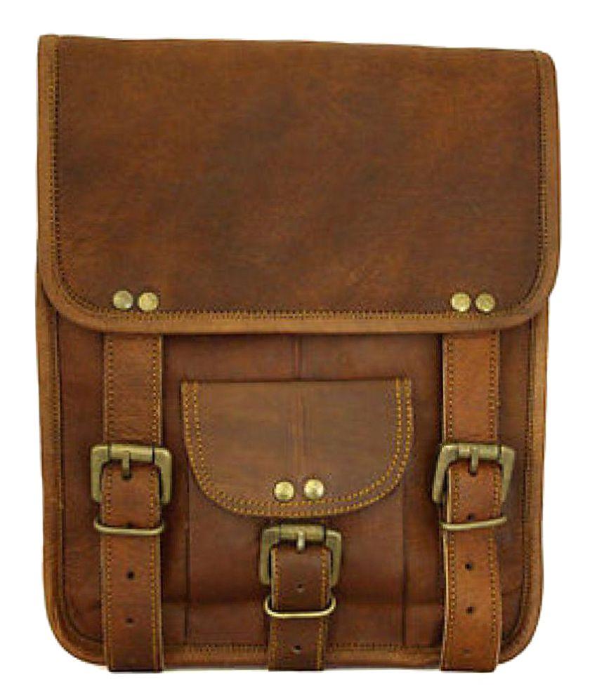 Pranjals House Leather Ipad / Notepad Satchel Messenger Bag Brown Leather Office Bag