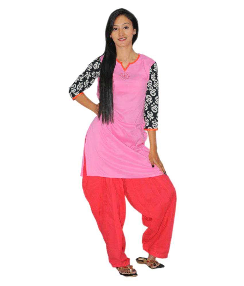 1Solo Pink Rayon A-line Kurti