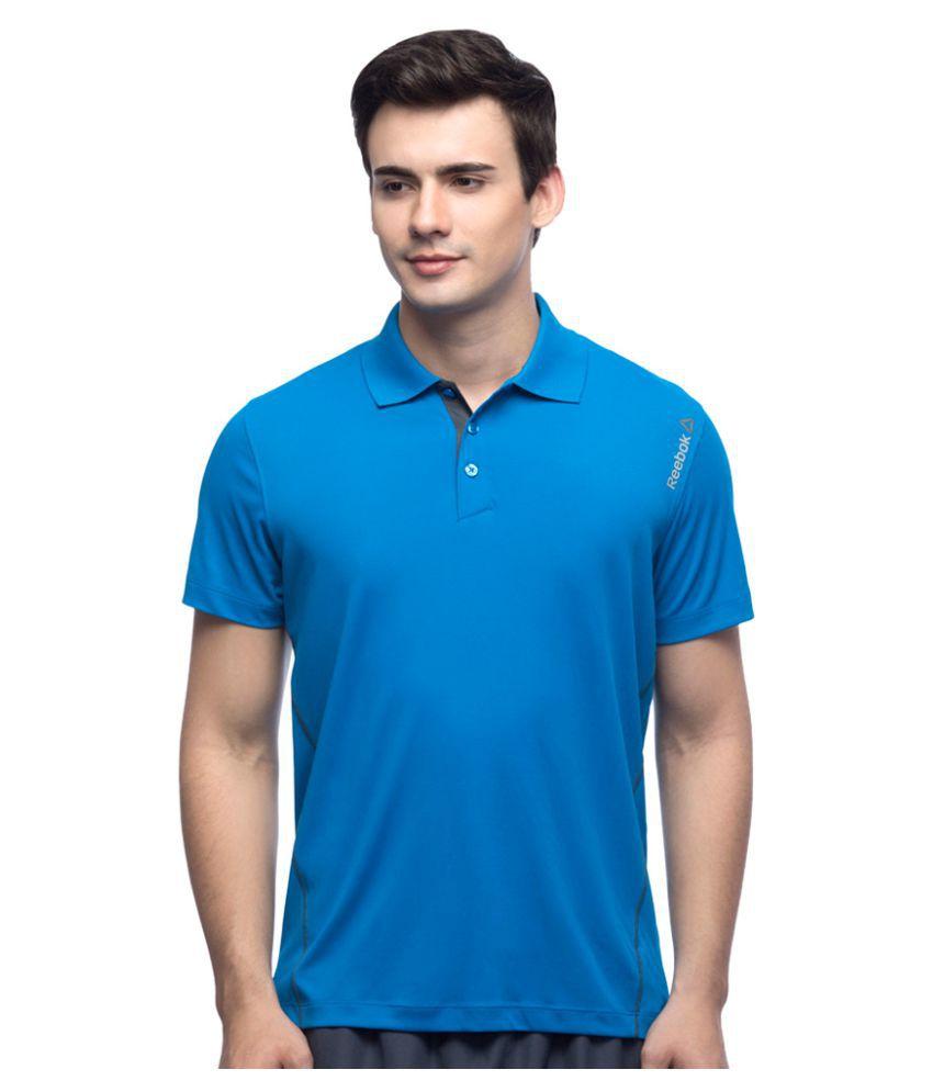 Reebok Blue Polyester Polo T-shirt