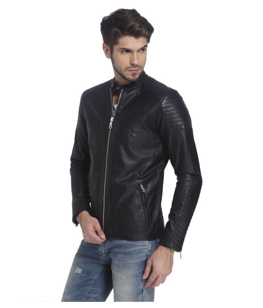 ... Jack & Jones Black Leather Jacket ...