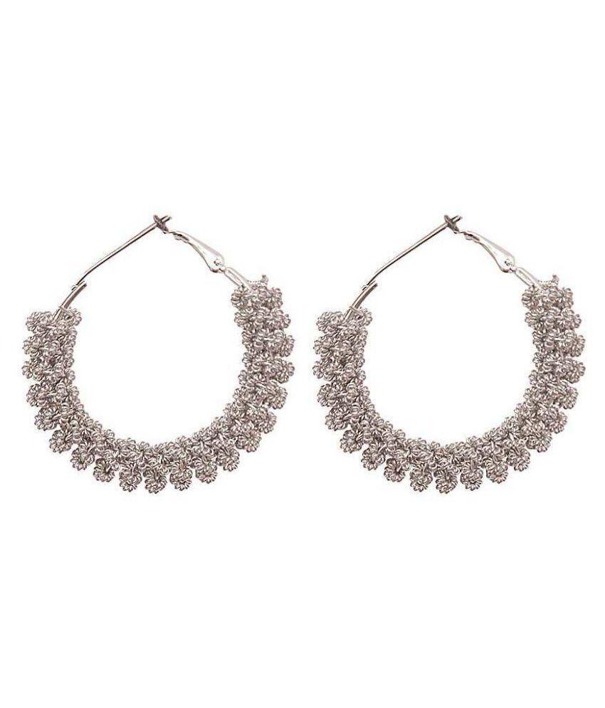 Jewels Capital Silver Alloy Chandeliers Earrings