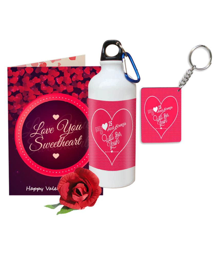 Sky Trends Valentine Gift Set Printed Sipper Keychain Rose Best Gift