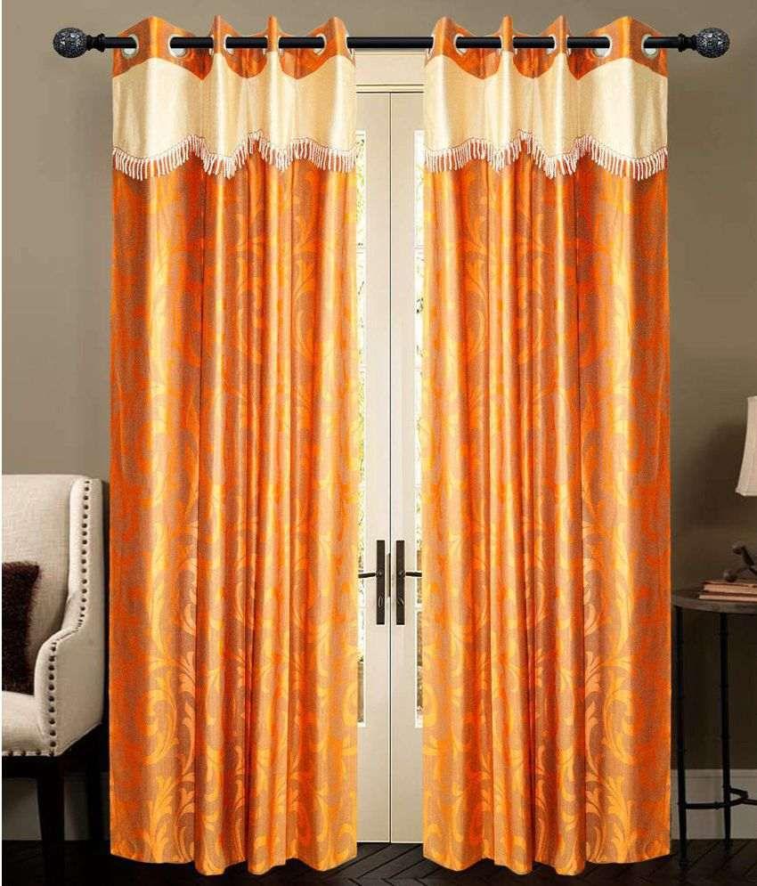 New Ladies Zone Set of 2 Door Eyelet Curtains Printed Orange