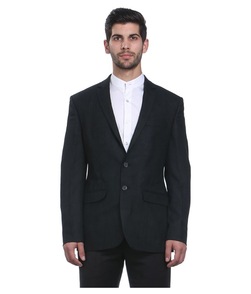 Park Avenue Black Solid Formal Jackets