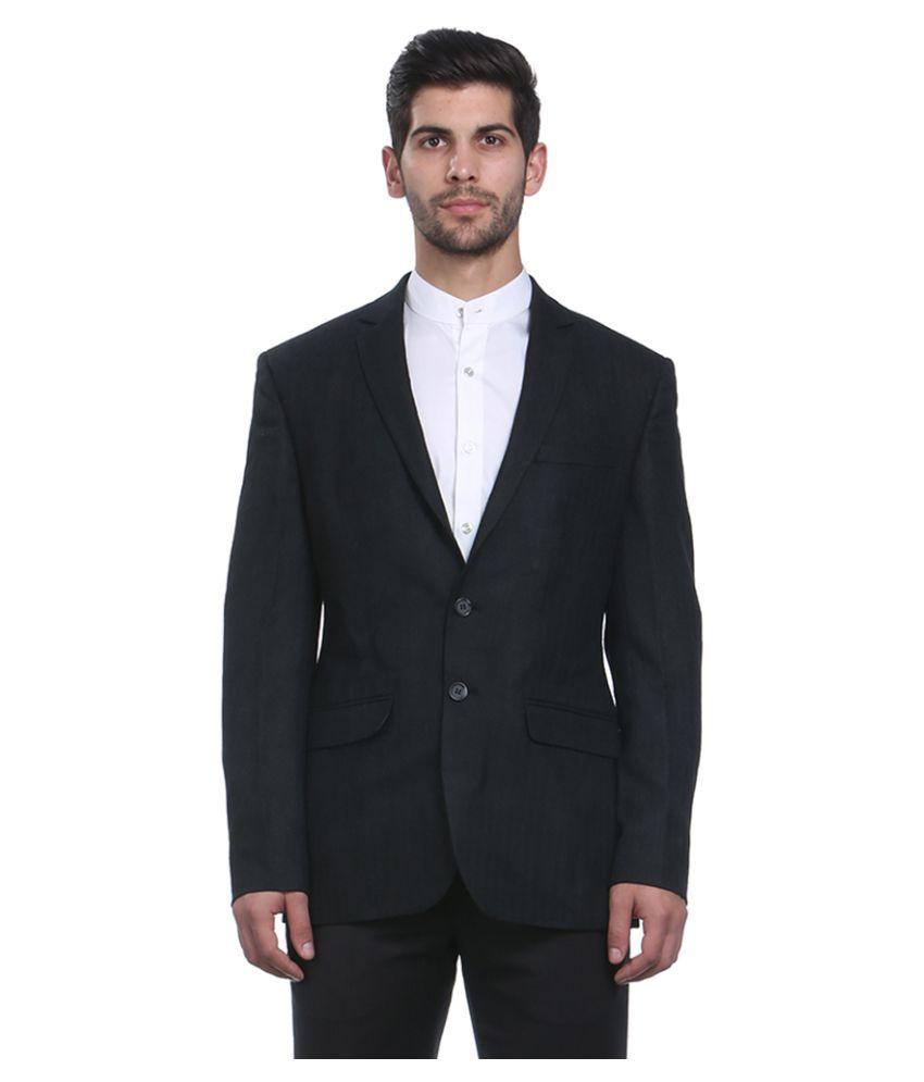 Park Avenue Black Solid Formal Jackets