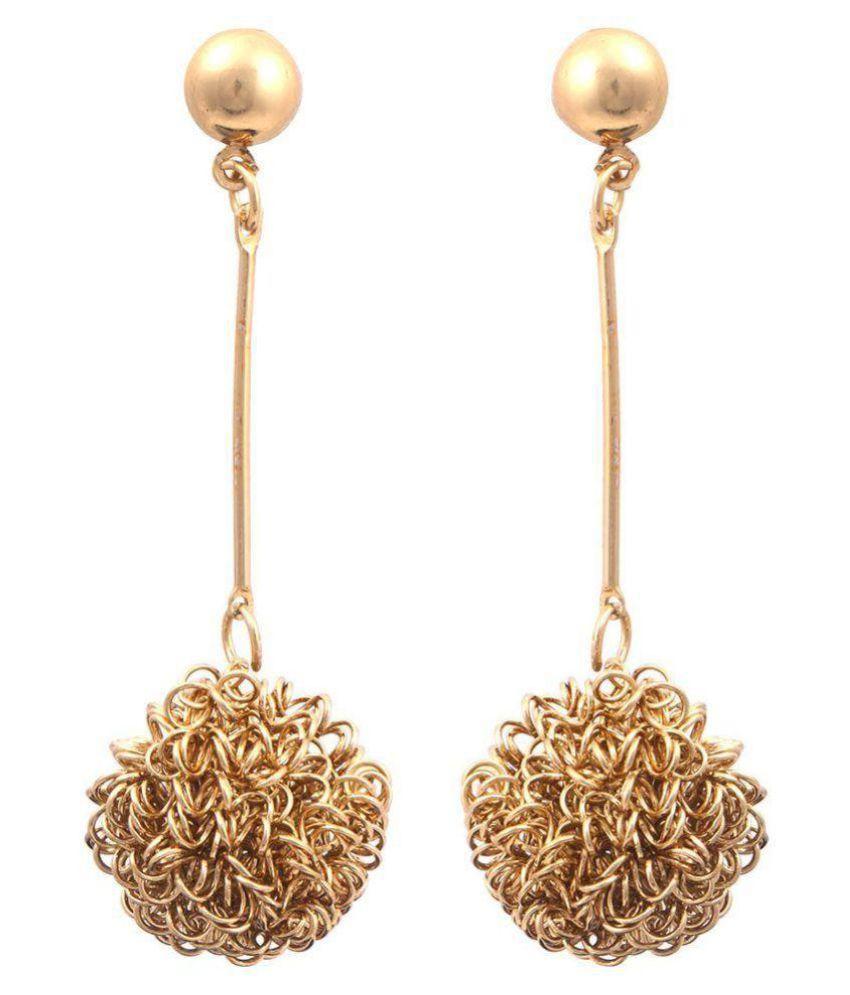 Jewels Capital Golden Alloy Drop Earrings