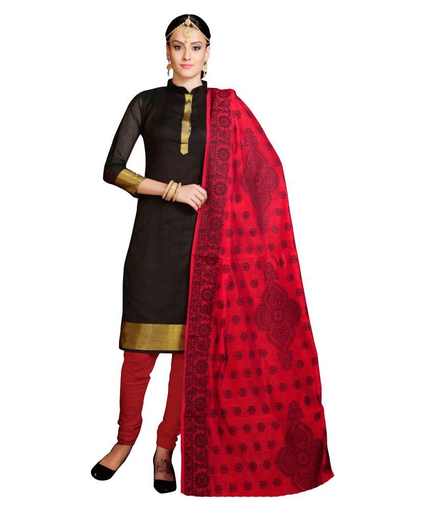 Snowfall Black Banarasi Silk Dress Material