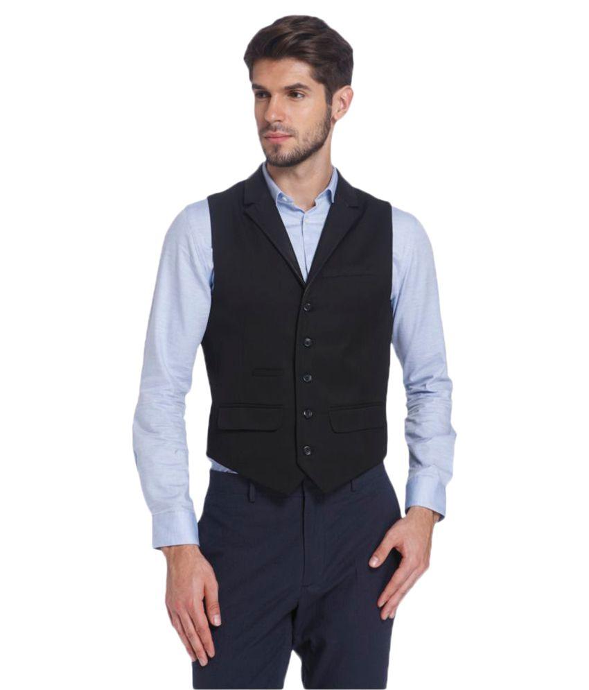 Jack & Jones Black Solid Casual Waistcoats