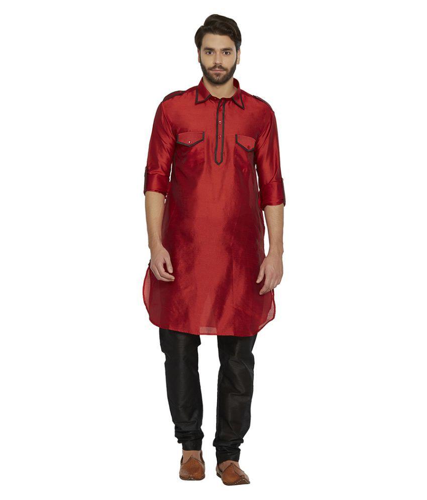 Irin Maroon Silk Blend Pathani Suit