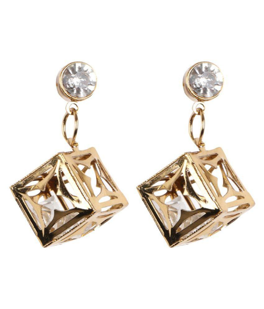 Dhamigo Golden Alloy Hanging Earrings For Girls