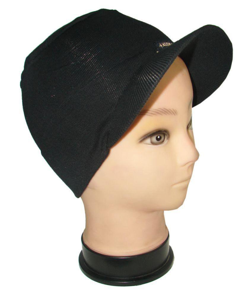 Goodluck Black Plain Wool Caps
