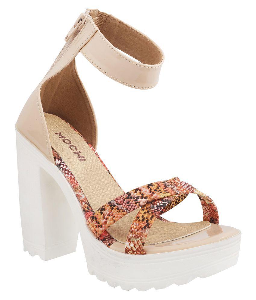 Mochi BEIGE Block Heels